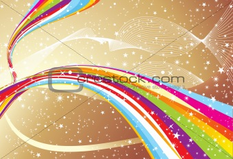 abstract colorful wave with golden background
