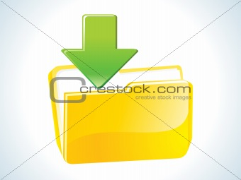 abstract glossy web yellow download icon