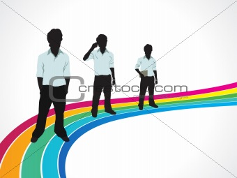abstract colorful rainbow background with men