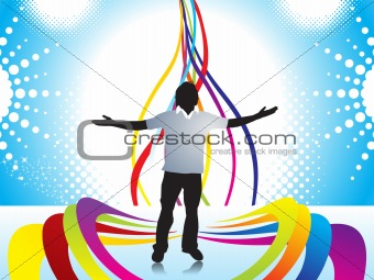 Abstract halftone background with Illustration of boy