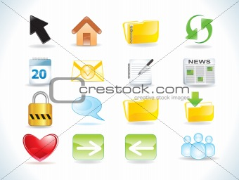 abstract glossy web icons set