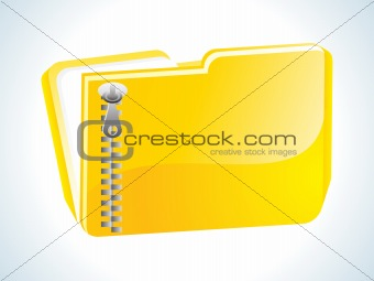 abstract glossy web yellow zipped folder icon