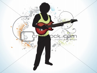 abstract music man with guitar