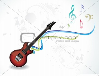 abstract musical guitar with musical words