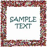 Colored dots frame with space for sample text