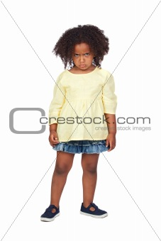 Angry little girl with beautiful hairstyle