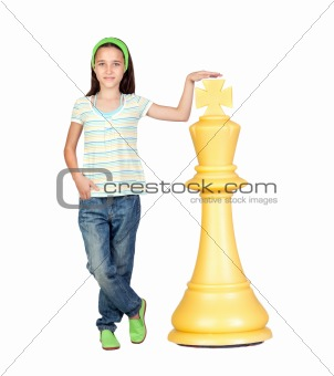 Beautiful girl with a huge piece of chess