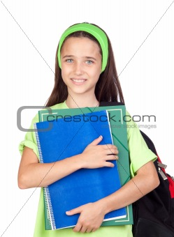 Adorable student girl with blue eyes