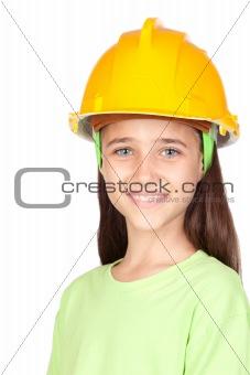 Adorable little girl with yellow helmet