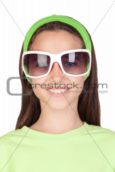 Adorable little girl with funny sunglasses