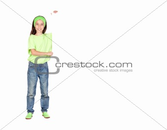 Adorable little girl with a blank poster