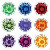 Glass floral buttons