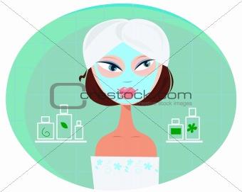 Beautiful girl woman with facial mask in bathroom