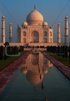 Taj Mahal Sunrise Fountain Reflection