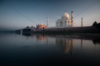 Jamuna River Birds at Sunset Taj Mahal