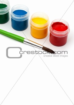 Paints with a paintbrush