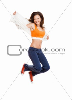 Athletic girl jumping