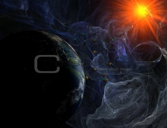 Blue nebula with closeup view on planet and sun