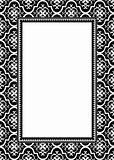 Vector Black Floral Frame and Pattern