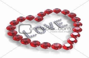 Heart of diamonds with word love