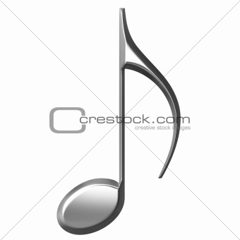 3D Silver Eighth Note