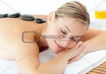 Cute woman having a massage