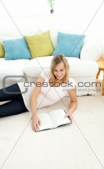 Beautiful woman is reading a book
