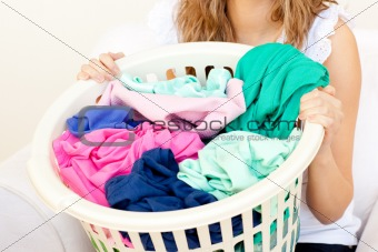 Close-up of a caucasian woman doing laundry