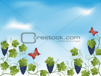 Abstract floral background with a vine.
