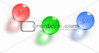 Three color glass balls