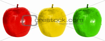 Three coloured apples