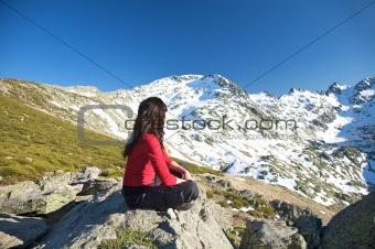 sitting watching snow horizon