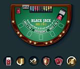 Vector blackjack table layout