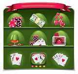 Vector gambling icon set. Part 1 (green background)