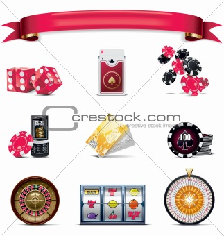 Vector gambling icon set. Part 2 (on white)