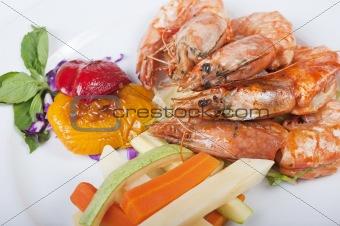 Tiger shrimp a la carte meal