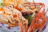Seafood meal of crab and lobster