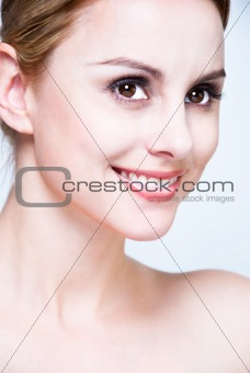 Close-up face of blond beauty