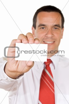 Friendly man with business card