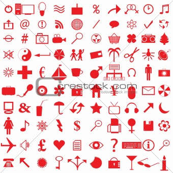 100 red icons