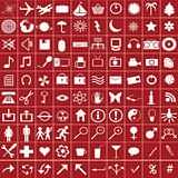 100 white web icons on red background