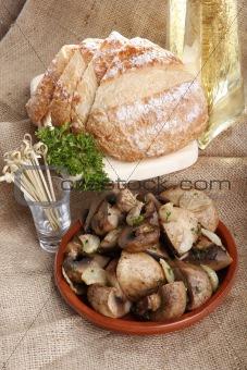 Champignon and French bread