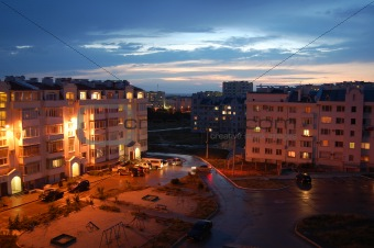 Town in the evening