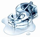 Crisis finance - the dollar symbol in melting ice