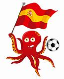 Octopus Soccer Player Holding Spain Flag.
