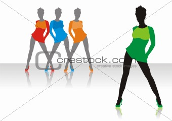 Beautiful girls of model pose on a podium