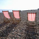 Red striped deckchairs