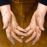 Metalsmith's hands.