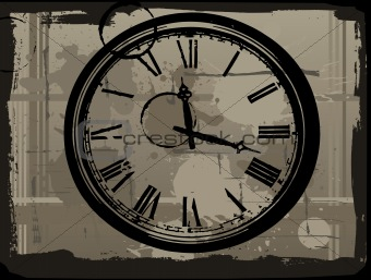 Old Clock with grunge background