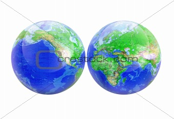 Planet earth world map globe